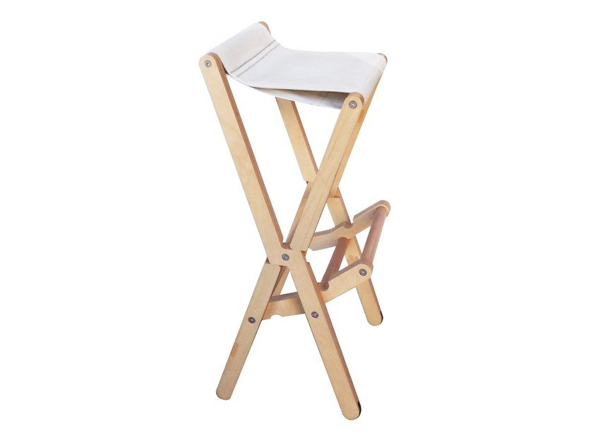 High folding recovered sail stool with footrest RIS | Stool with footrest by DVELAS