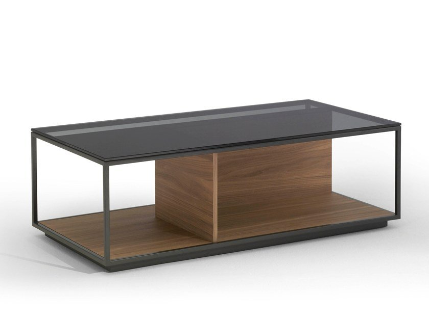Rectangular wood and glass coffee table with integrated magazine rack RITA | Rectangular coffee table by Kendo Mobiliario