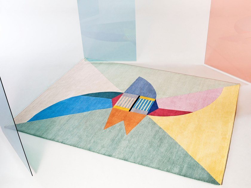 Handmade rectangular wool rug NELLO SPAZIO by Tacchini Edizioni