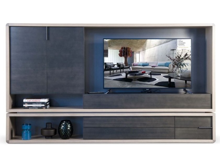 Freestanding lacquered MDF storage wall RIVE DROITE | Storage wall by ROCHE BOBOIS
