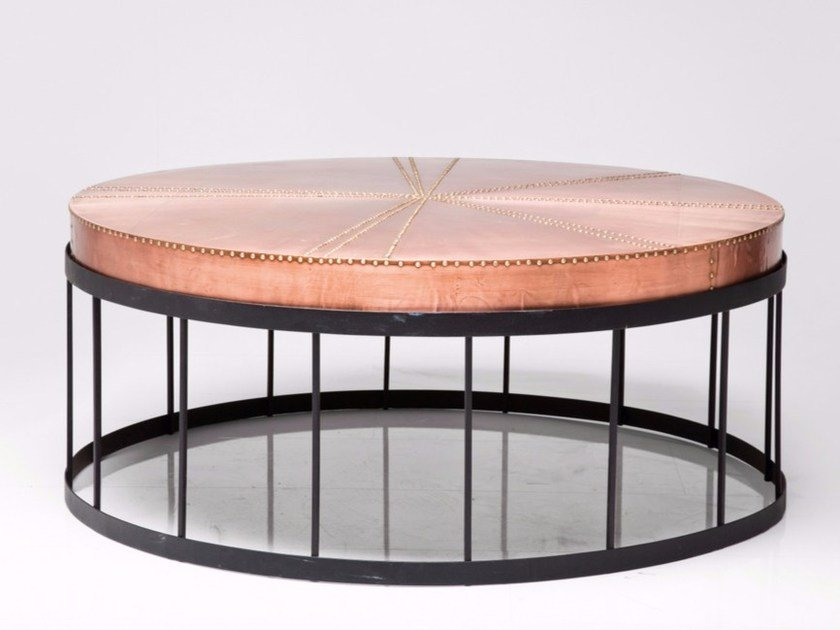 Round copper and steel coffee table RIVET | Coffee table by KARE-DESIGN