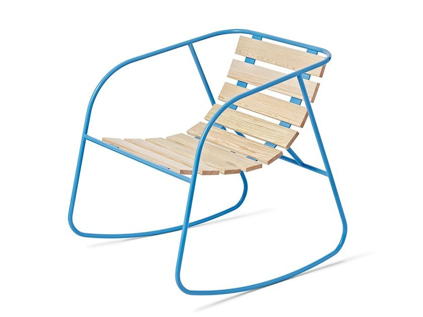 Rocking steel and wood garden chair ROCKY   Rocking chair by Nola Industrier