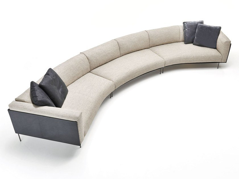 Curved fabric sofa with removable cover ROD BEAN by Living Divani