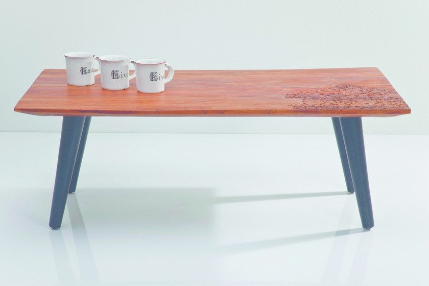 Rectangular steel and wood coffee table RODEO | Coffee table by KARE-DESIGN
