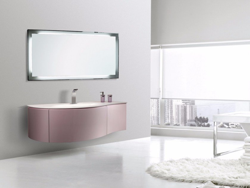 Lacquered wall-mounted vanity unit with mirror RODI CM09RO by LA BUSSOLA