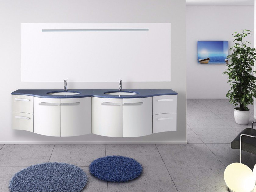Double wall-mounted vanity unit with mirror RODI CM12RO by LA BUSSOLA