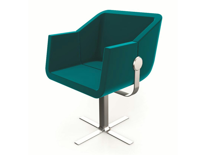 Easy chair with 4-spoke base with armrests ROK & ROLL | Easy chair with 4-spoke base by Cizeta L'Abbate