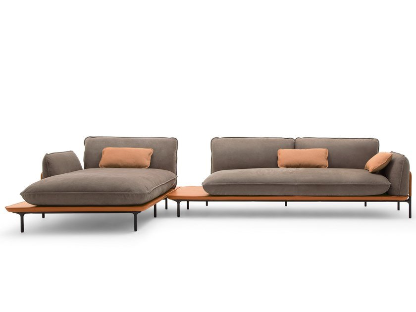 Sectional modular fabric sofa with chaise longue ROLF BENZ 515 ADDIT | Sofa with chaise longue by Rolf Benz