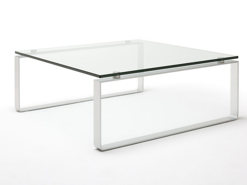 Sled Base Square Glass And Steel Coffee Table Rolf Benz 8710 By Rolf Benz Design Edgar Reuter