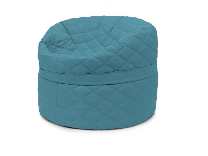 Upholstered round fabric bean bag pouf with removable lining ROLL 85/100 QUILTED NORDIC by Pusku pusku