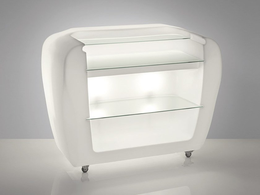 Illuminated outdoor polyethylene bar counter with casters ROLLER BAR by SLIDE
