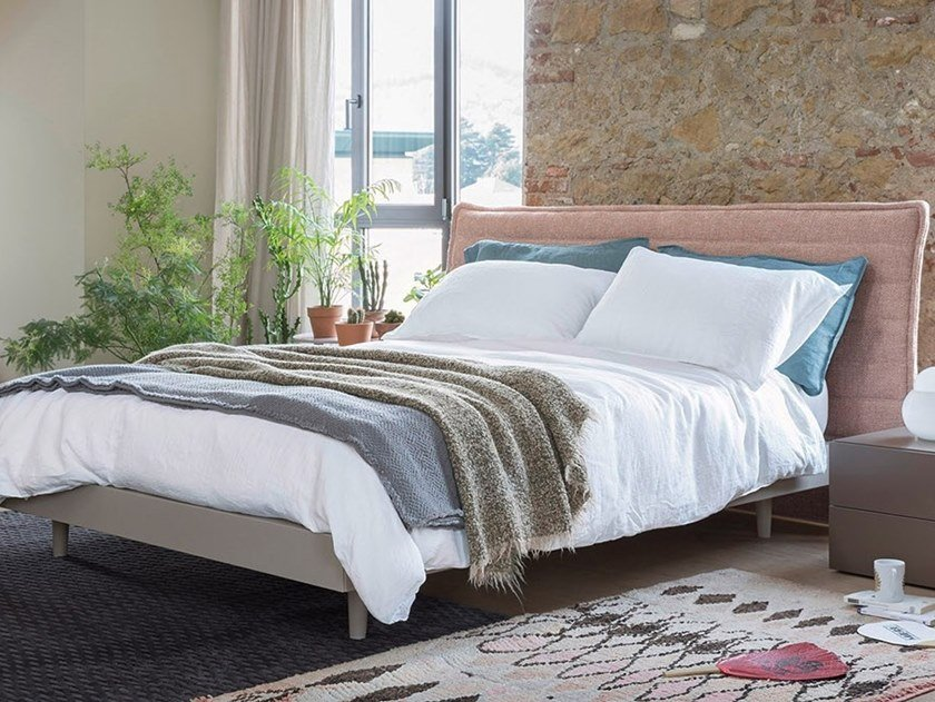 Double bed with upholstered headboard ROLLING by Novamobili