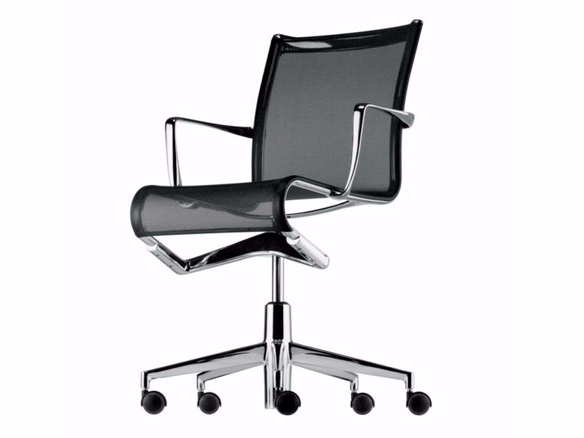 Height-adjustable swivel office chair with armrests ROLLINGFRAME - 434 by Alias