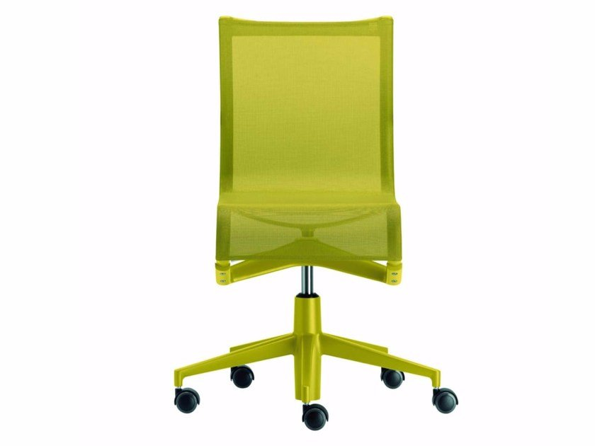 Height-adjustable swivel mesh office chair with castors ROLLINGFRAME COLORS - 432_C by Alias