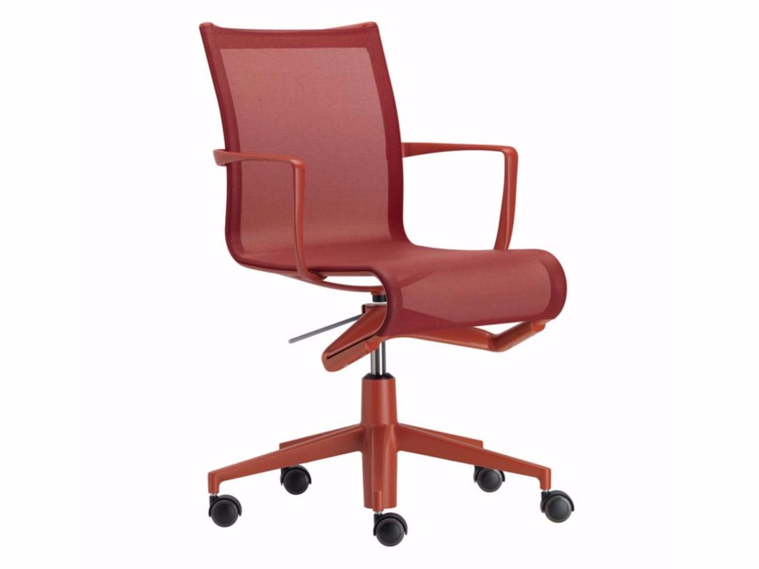Height-adjustable swivel task chair with armrests ROLLINGFRAME COLORS - 434_C by Alias