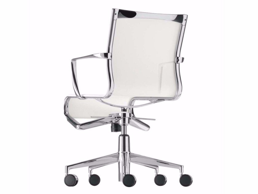 Height-adjustable office chair with armrests with castors ROLLINGFRAME+ LOW TILT - 443 by Alias