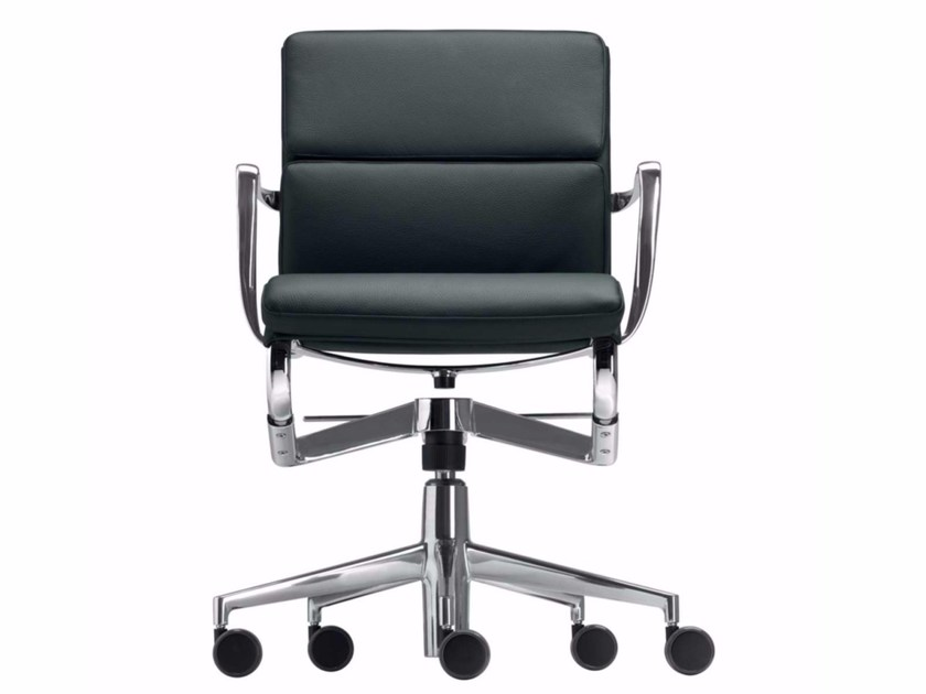 Swivel leather office chair with armrests ROLLINGFRAME+ LOW TILT SOFT - 427 by Alias