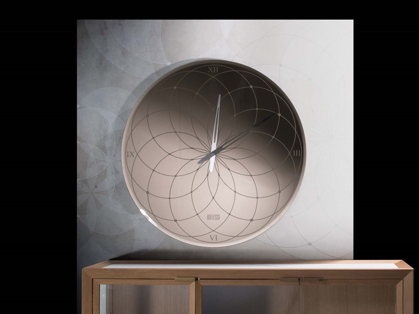 Wall-mounted screen printed glass clock ROMA by RIFLESSI