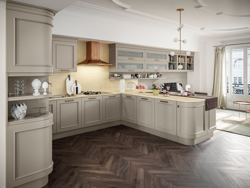 Contemporary style lacquered wooden kitchen with handles with peninsula ROMANTICA 03 by Febal Casa