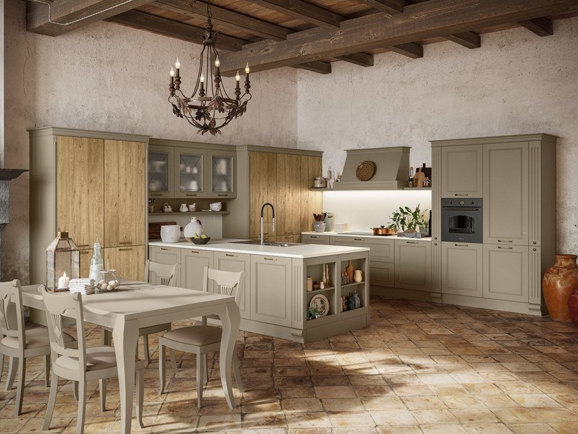 Lacquered kitchen with peninsula ROMANTICA 04 by Febal Casa
