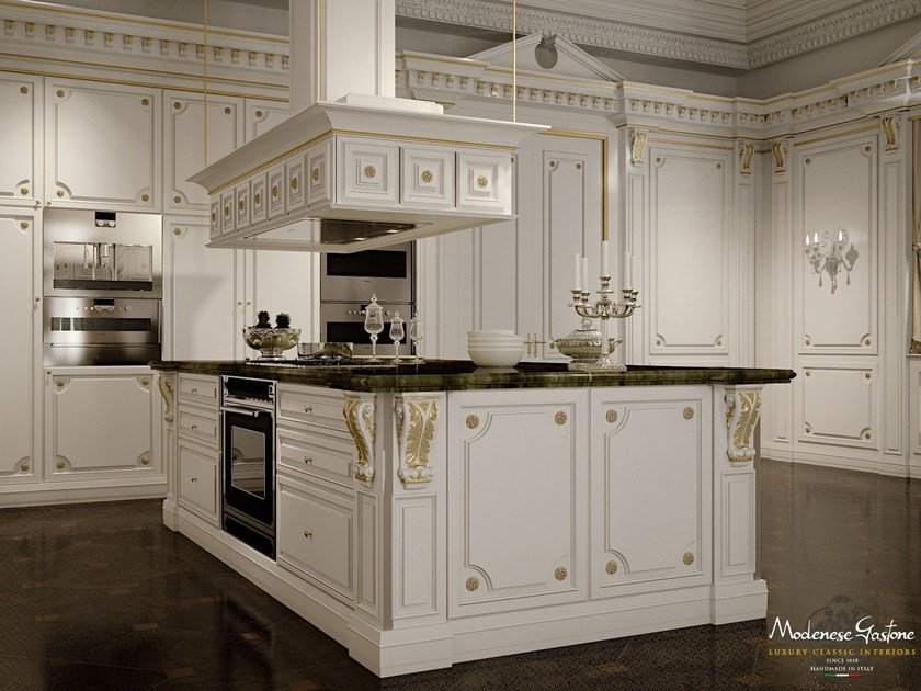 Lacquered custom solid wood kitchen with island ROMANTICA - IVORY AND GOLD by Modenese Gastone
