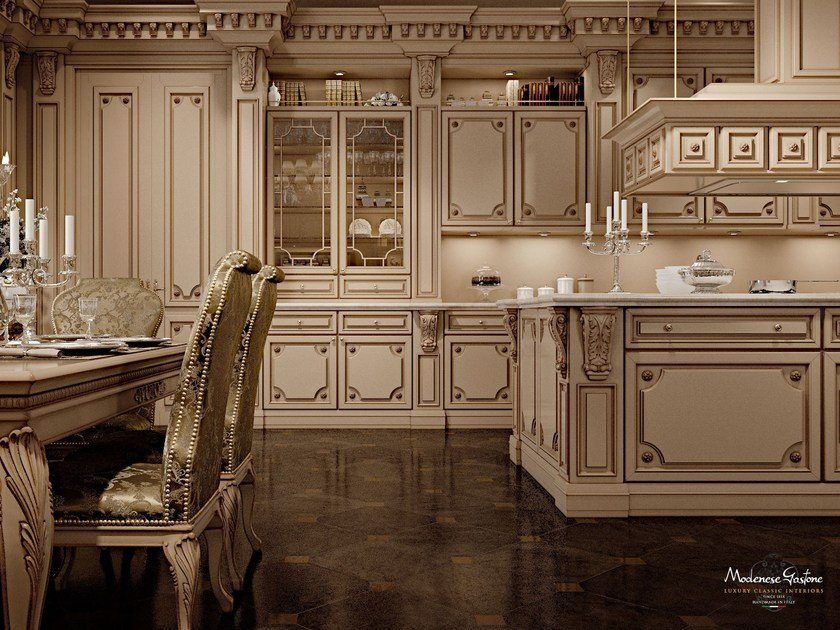 Lacquered custom solid wood kitchen with island ROMANTICA - LACQUERED AND PATINATED by Modenese Gastone