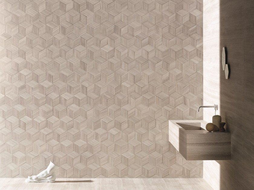 Modular natural stone 3D Wall Cladding ROMBOO by SALVATORI