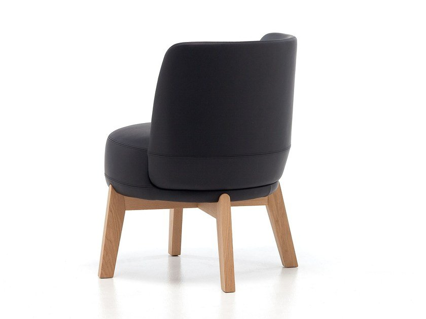 Upholstered leather chair ROND 02 L/H by Very Wood