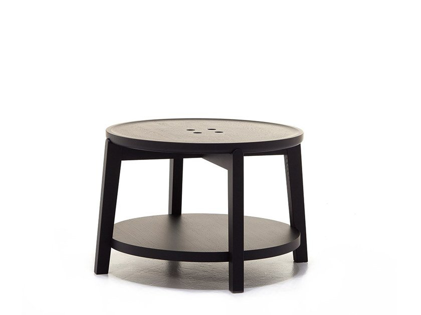 Round coffee table with integrated magazine rack ROND T02 by Very Wood