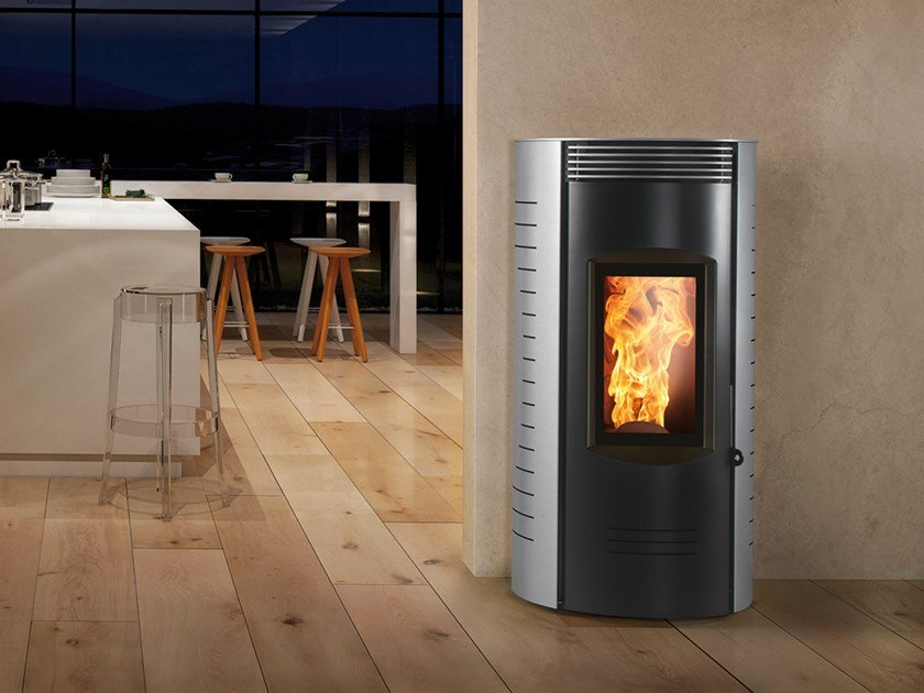Pellet Class A+ wall-mounted steel stove RONDE EVO by CAMINETTI MONTEGRAPPA