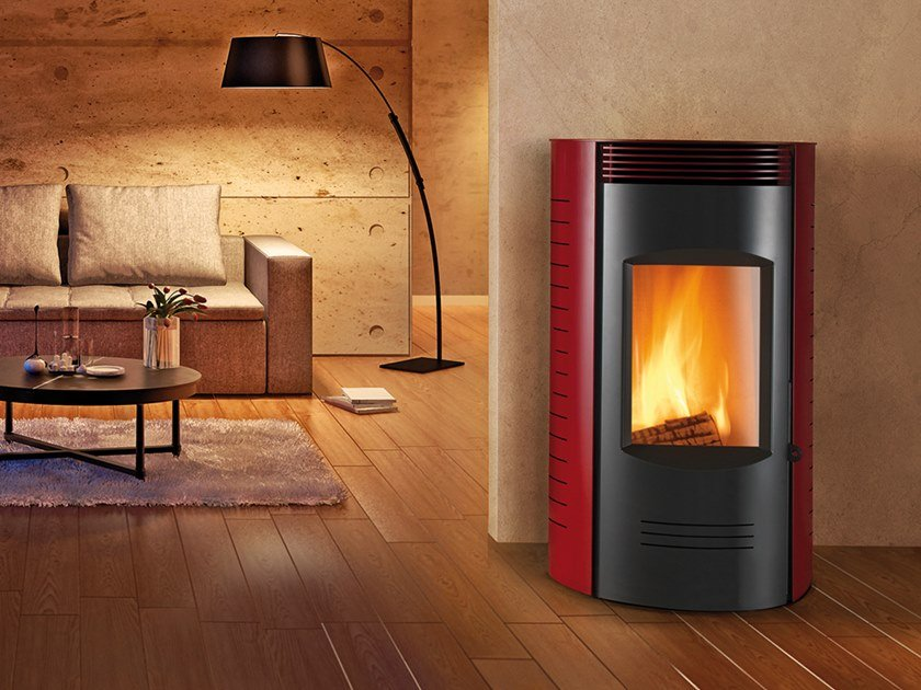 Wood-burning Class A wall-mounted steel stove RONDE XW | Wood-burning stove by CAMINETTI MONTEGRAPPA