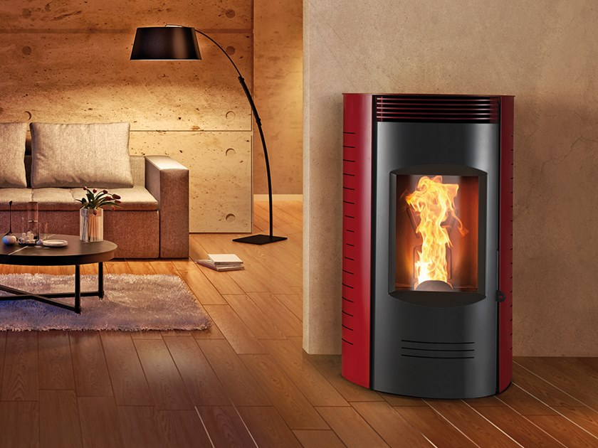 Pellet Class A+ wall-mounted steel stove RONDE XW | Pellet stove by CAMINETTI MONTEGRAPPA