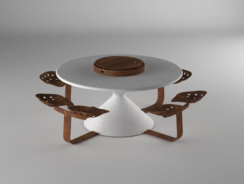 Table pour espaces publics ronde avec chaises intégrées ...