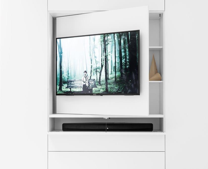 Armadio con porta tv apribile e apertura totale in vetro ...