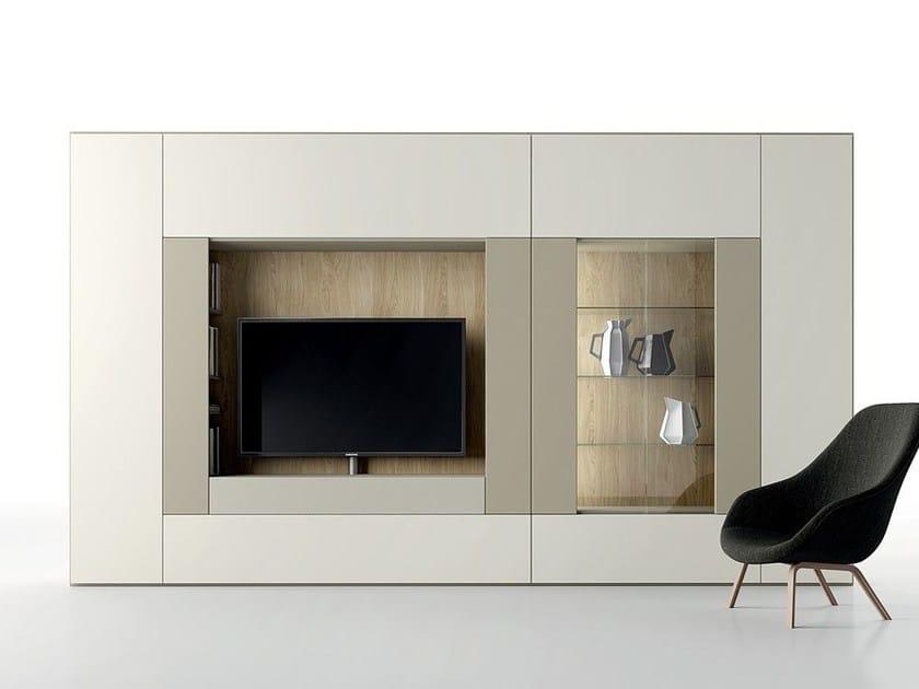 Parete attrezzata componibile laccata in stile moderno con porta tv ROOMY | Parete attrezzata con porta tv by Caccaro