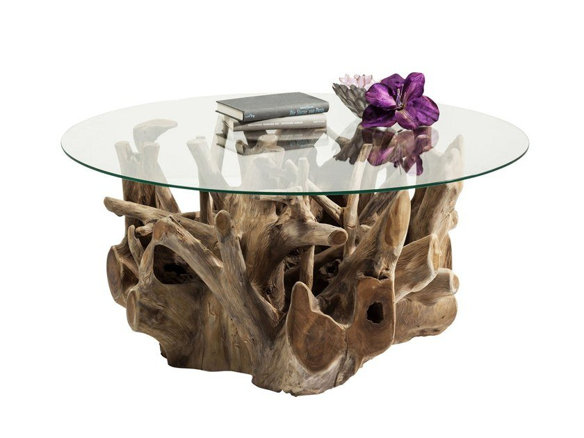 Round wood and glass coffee table ROOTS by KARE-DESIGN