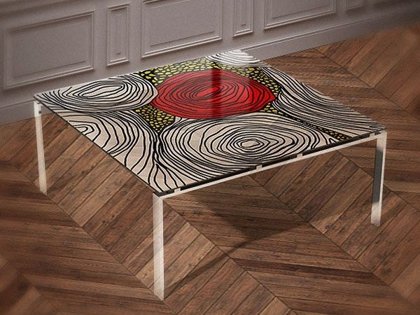 Tempered glass table ROSA BIANCA by Unica by Tecnotelai