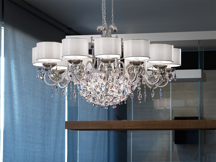 Contemporary style direct-indirect light metal chandelier with crystals ROSEMERY 12 by Masiero