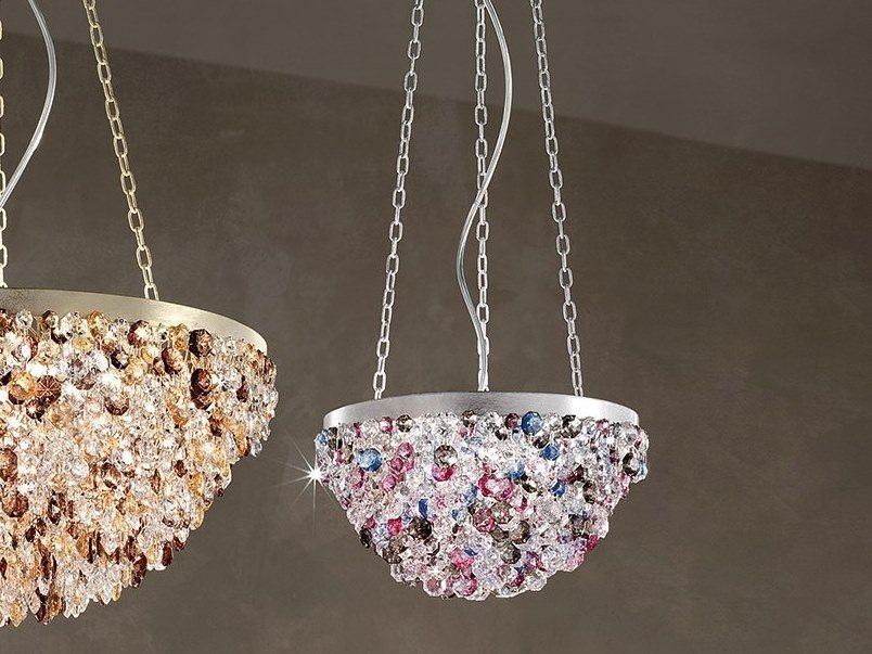 Contemporary style direct light metal pendant lamp with crystals ROSEMERY 2 by Masiero