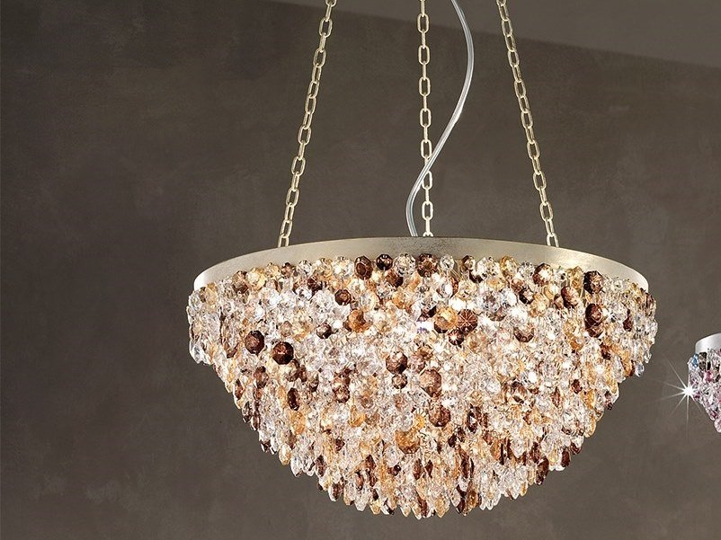 Direct light metal pendant lamp with crystals ROSEMERY 4 by Masiero