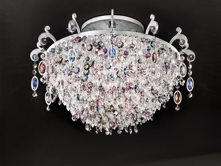 Direct light metal ceiling lamp with crystals ROSEMERY PL6 by Masiero