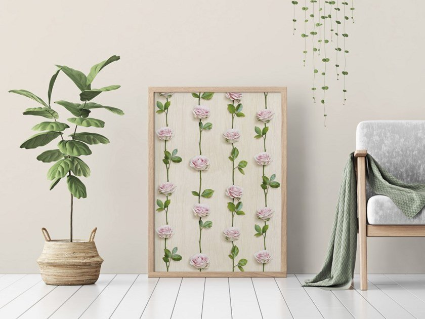 Wallpaper with floral pattern ROSES ON LIGHT WOOD by Koziel