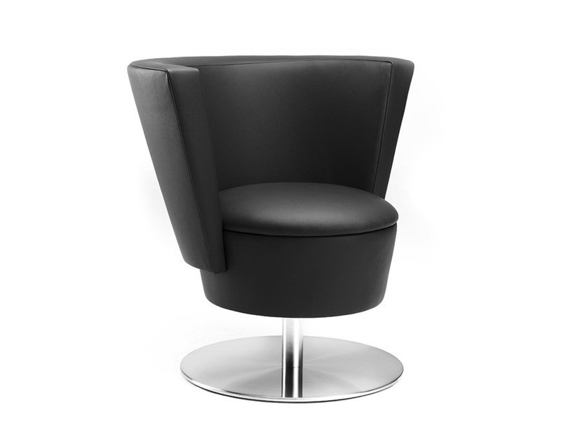 Swivel leather easy chair .ROSSI | Swivel easy chair by Spiegels