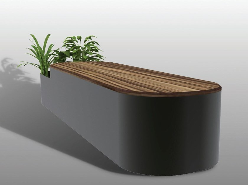 Backless steel and wood Bench with Integrated Planter ROUND I-II by Manufatti Viscio