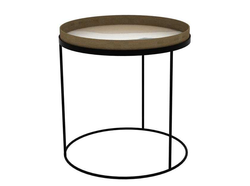 Metal coffee table with tray ROUND TRAY TABLE - LARGE by Notre Monde