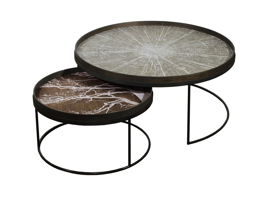 Round Coffee Table With Tray ROUND TRAY TABLE SET LOW XL By Notre Monde