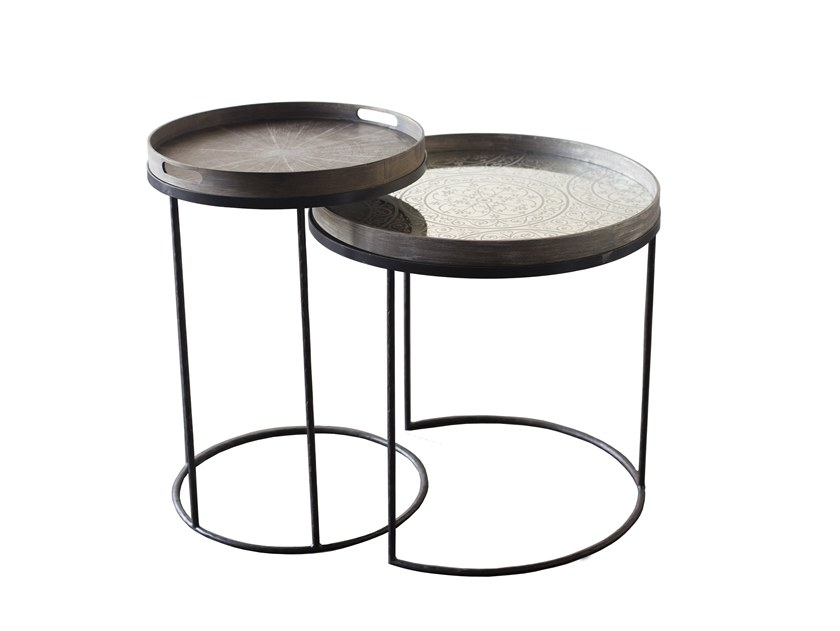 Round Coffee Table With Tray ROUND TRAY TABLES   SET By Notre Monde