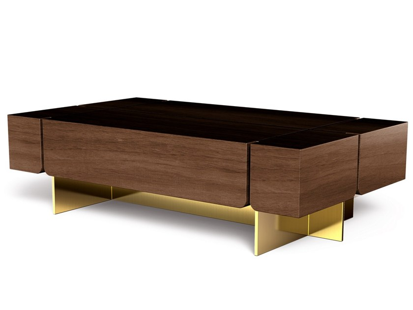 Rectangular walnut coffee table ROUTE by Porustudio