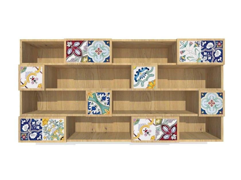 Wall-mounted faïence bookcase ROVERE MAIOLICATO   Bookcase by FRANCESCO DE MAIO