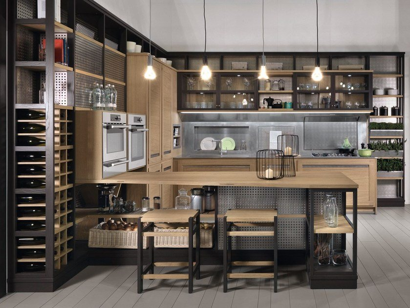 Oak kitchen with peninsula ROVERETTO by L'Ottocento